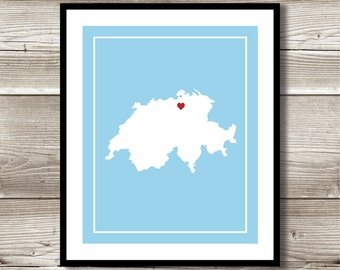 Switzerland Wall Art, Switzerland Print, Digital Print, Custom Switzerland Wall Art, Switzerland Map Art