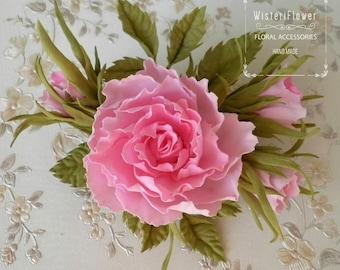 Rose hair clip Pink Wedding accessories Flower barrette Bridal hairpiece Pink roses Flower for hair Romantic wedding Boho Flower girl clip