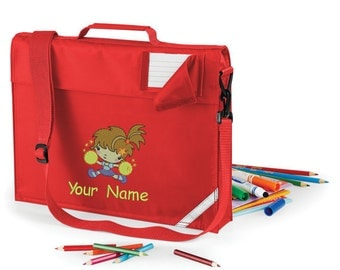 Personalized Embroidered School Book Messenger bag Preschool - kindergarten book bag with strap  With Cheerleader  Design and Name