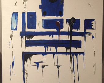 SOLD* Abstract Star Wars R2D2 painting