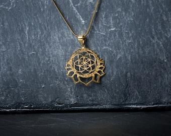 SALE -20% lotus flower seed of life messing nickelfree brass
