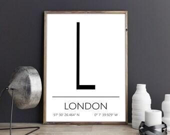 London Poster, London Print, London Art, London Coordinates, London, Wall Art, Wall Decor, Printable Art, Digital Download