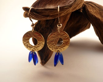 Hortense earrings handmade and gilded with 24 carats gold