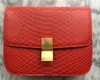PYTHON BOX BAG Red Embossed Leather Box Bag