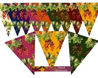 SALE Berries, Printable Bunting, Digital Download, Party Decorations, Craft Stall Display, Birthday, Digital Paper, Leaves, Table Bunting