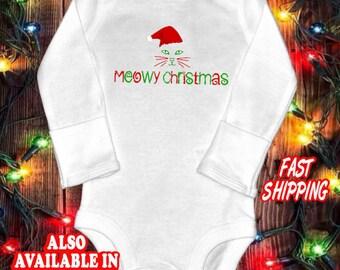 Meowy Christmas - Funny baby shirt