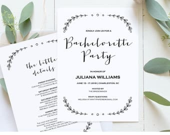 Bachelorette Party Invitation Template, Printable Rustic Bachelorette Invite and Itinerary, Instant Download, Editable Text, PDF #031-103BP