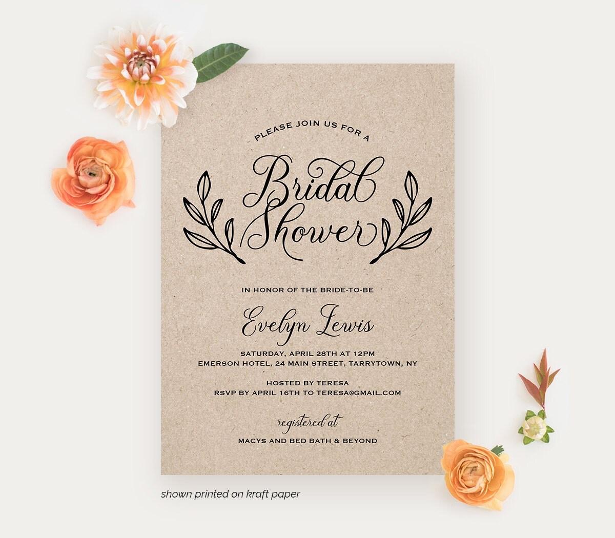 Bridal shower invitation printable wedding shower invite for Invitations for bridal showers