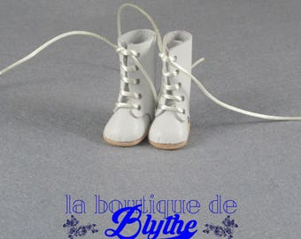 White Leather Boots for Blythe doll-boots white in skin for Blythe