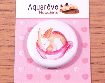 Magnet 32mm - Baby rabbit in a tea cup