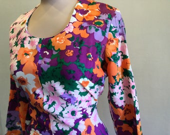 Vintage 1960's Mod Maxi Dress Purple, Orange, White Floral Pattern