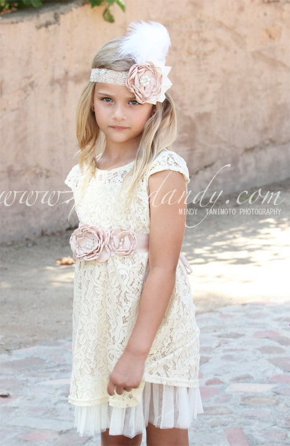 Country Flower Girl dress, Flower Girl Dress Set, Champagne flower girl dress & Sash Belt, Rustic Girls Dress, Ivory Boho Junior Bridesmaid