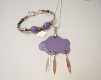 Pendant ceramic purple cloud and bracelet set