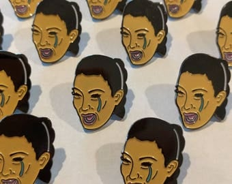 RESTOCK!! Crying Kim Kardashian Face Enamel Pin
