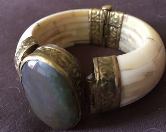 Vintage Bracelet Bone Brass Gemstone
