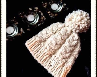 Pom Pom Cable Hat