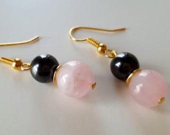 Rose Quartz & Hematite Gems, Gold Plate Drop Earrings