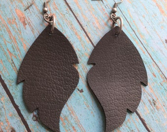 Charcoal gray leaf leather earrings, gray leather leaf earrings, charcoal gray leather earrings