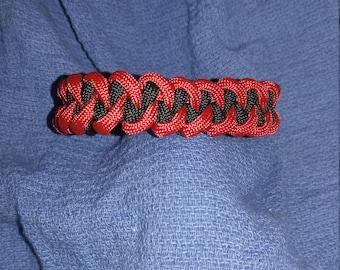 Scarlet Red / Black Paracord Bracelet