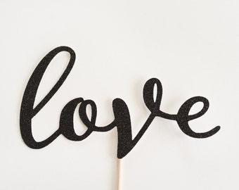 Wedding Cake Topper/ Love Script/ Handwriting/ Romantic/ Calligraphy/ Gold Silver Black Glitter/ Mr & Mrs