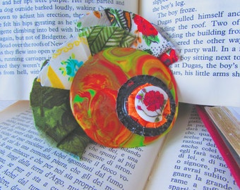 Vintage Style Brooch, Textile Jewelry, Fabric Jewelry, Polymer Clay Jewelry, Hippie Chic, Boho Glam, Gift for her, Handmade Gift, Upcycled