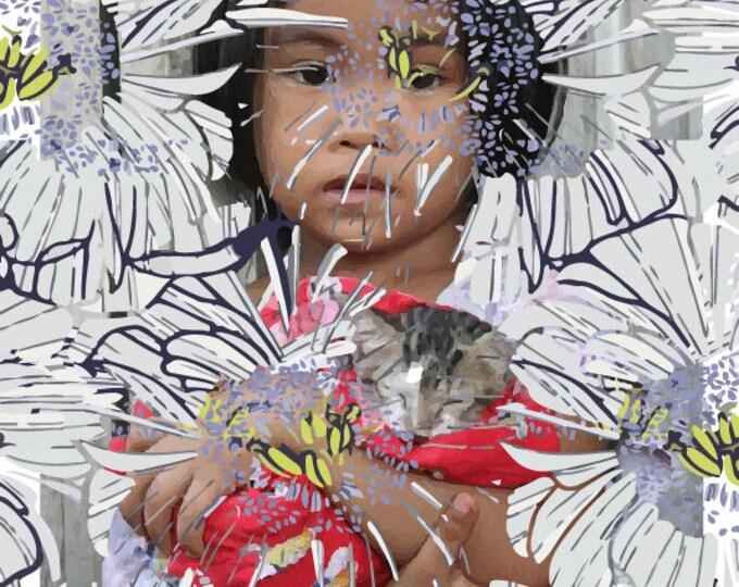 Portrait, print, girl, cat, drawing, illustration, art, creating custom portraits