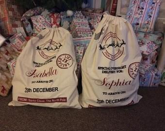 Personalised Large Christmas Sacks, Christmas Bag