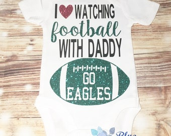 Football with daddy bodysuit-i love watching football-football season-i love daddy