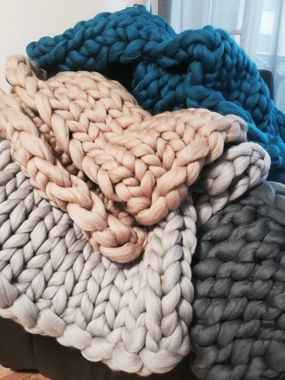 Chunky Blanket Chunky Rug Merino Wool Arm Knit By