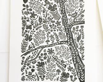 Bird Print, Linocut Print, Nature Prints, Bird Artwork, 16x20 Print, Large Wall Art, Birding, Lino Print, Block Print, Archival Print,