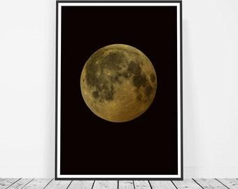 Full Moon Wall Art, Luna, Lunar, Gold Moon, Moon Phases Art Print, Moon Poster, Large Wall Art, Moon Printable Art, Lunar Art Print Moon Art