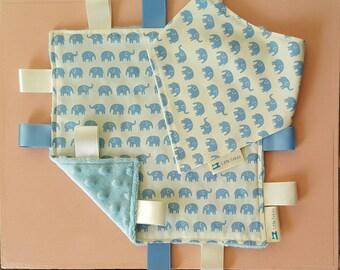 Blue Elephant Bib & Taggy Blanket Set
