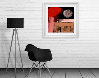 Vibrant Red Pink & Brown Colour  Abstract Art Print - Outstanding Quality Wall Art For Modern Interior Design, Digital Abstract Art