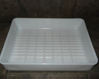Vintage McKee Glass Co. Milk Glass Baking Dish Huge 13x10.