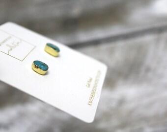 Natural Stone Turqoiuse Minimialist Gold Plated Stud Earrings
