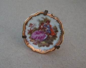 Miniature Limoges Fragonard Courting Couple Plate - Vintage