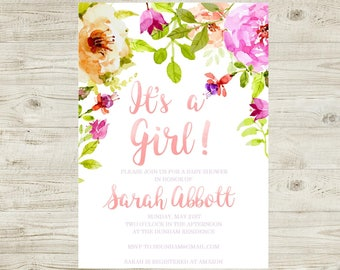 Watercolor Floral - Pink and Peach - Girl Baby Shower Invitation - Digital - Personalized