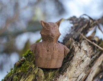 Wooden sculpture wolf carving