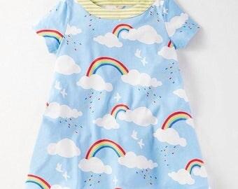 Girls rainbow / rain / bird colourful jersey tunic dress. Summer