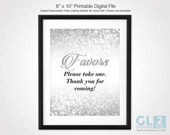 Silver Favors Sign. 8x10 Printable Glitter Sparkle Silver Bridal Shower / Wedding Favors Sign, Favors Table Sign. Favors Please Take One
