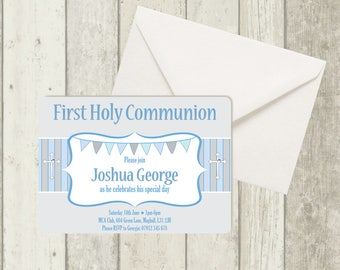 First Holy Communion Invitation, Boy, with Gemstone Detail, Envelope Included