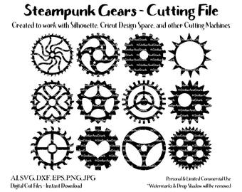 12 Steampunk Gears - SVG - DXF - EPS - Jpg - Transparent Png - Cut File - Cutting File - Clip Art - ClipArt - Scrapbook, Card Embellishment
