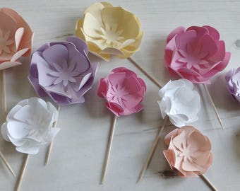 Paper Flower Cupcake Toppers in Various Colours | Party Cupcake Toppers