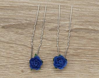 Blue bobby pins, Blue Rose bobby pins, Bridal Bobby Pins, Something Blue, Hair Pins, Bride Bobby Pins, Bridesmaids bobby pins, Bridesmaids