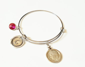70th Birthday Gift US 1948 90% Silver Dime Bracelet Birthstone Expandable Bangle initial 21st 30th 40th 50th 60th 70thcharm Coin Jewelry