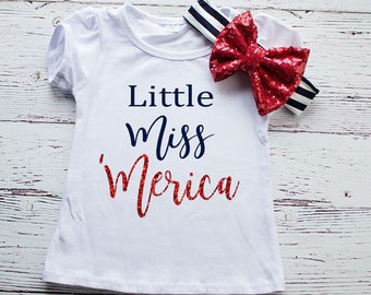 Little Miss America 4th of July Shirt, 4th of July Outfit, Girl's 4th of July Shirt, Trendy outfit, Red white and blue Outfit, 4th of Juy