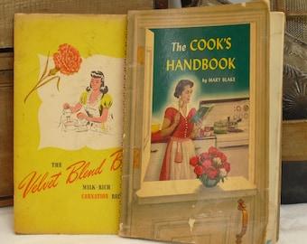 Vintage Promotional Cookbooks, Mary Blake, Carnation, Evaporated Milk, The Velvet Blend Book, The Cooks Handbook, Illustrated, Photographed
