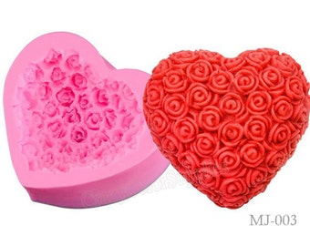 1PCS Rose Molds-Fandant Mold-Filigree Heart Silicone Mould-Heart Flexible Silicone Mold-Soap Silicone Molds-Jewelry Mold-Cupcake Topper Mold