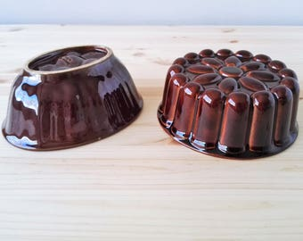2X Vintage Jello Molds - Ceramic Cake Pan - Glazed Ceramic Backing Mold - Made in Luxembourg