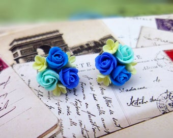 Cute earrings Floral earrings Unique earrings Blue earrings Polymer clay jewelry Flower jewelry